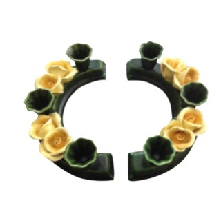 Majolica Style Yellow Rose Semi Circle Candle Holders - a Pair