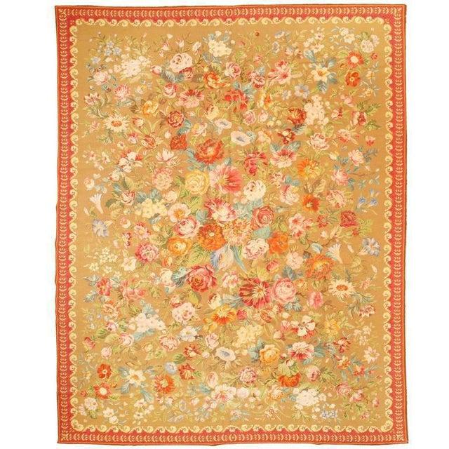 """Antique English needlework carpet, """"Contact Dealer"""" button. Excellent condition."""