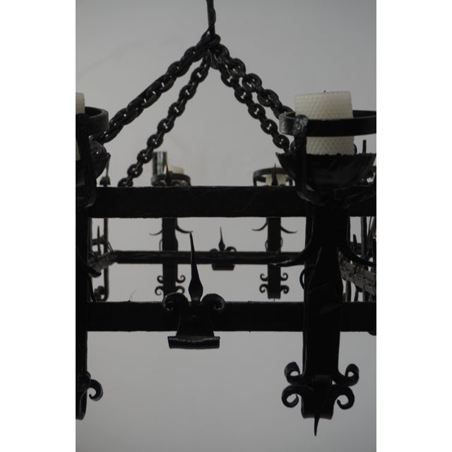 Henry III Style Hand Wrought Iron Chandelier For Sale - Image 10 of 10