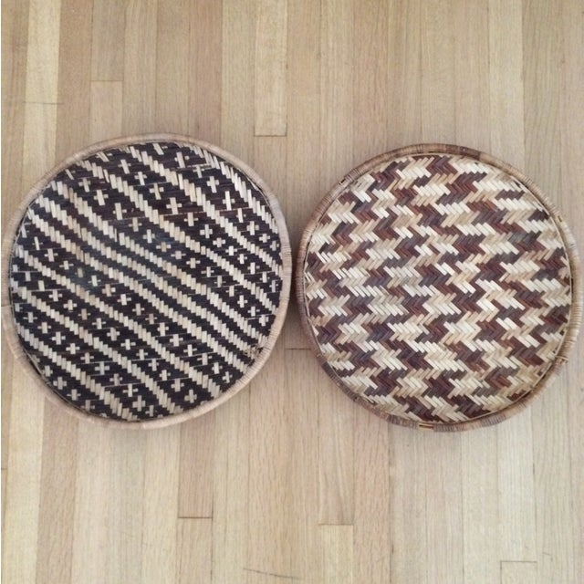 Woven Ethnic Baskets - A Pair - Image 2 of 5