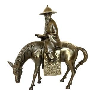 """Circa 1940s """"Don Quixote on Horseback Reading"""" Bronze Two Piece Statue For Sale"""