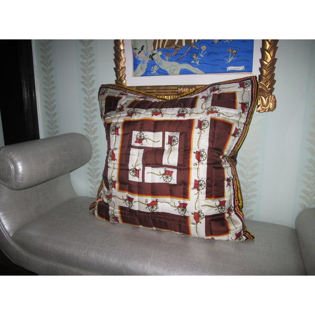 English Vintage, Quilted Hermes-Style Silk Scarf Pillow Envelope For Sale - Image 3 of 6