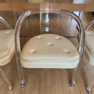 Mid Century 1970s Hill Manufacturing Rolling Lucite Chairs- Set of 4 Preview