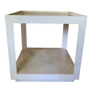 Mid Century Modern Karl Springer Style Parchment Lacquered Goatskin Cube Table For Sale