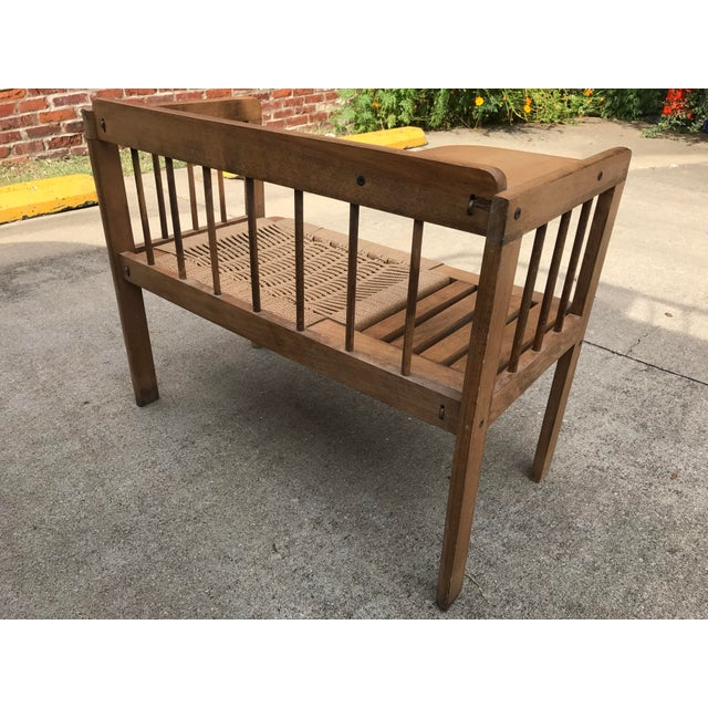 Hans Wegner Style Teak Woven Bench, 1970s For Sale In Nashville - Image 6 of 8