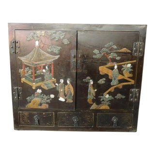 Chinese Semi Precious Hardstone Campaign Traveling Cabinet For Sale