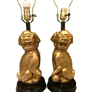 Foo Dog Chinoiserie Lamps - A Pair