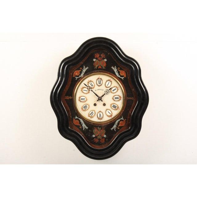 Mahogany 19th-C. French Napoleon III Wall Clock For Sale - Image 7 of 7