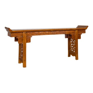 Ming Style Altar Table with Everted Flanges, Meander Apron and Cloud Motifs For Sale