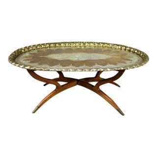 Vintage Indian Moroccan Style Oval Tray Top Spider 4 Leg Coffee Table For Sale
