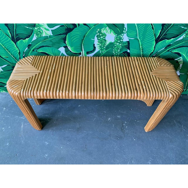 Contemporary Split Reed Bamboo Console Table For Sale - Image 3 of 10