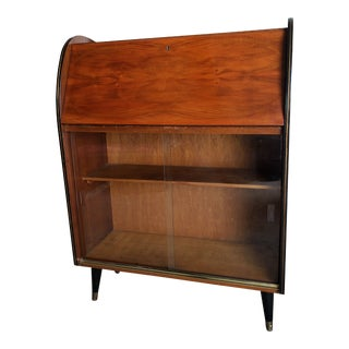 1960s Mid-Century Modern Drop Front Secretary Bookcase For Sale