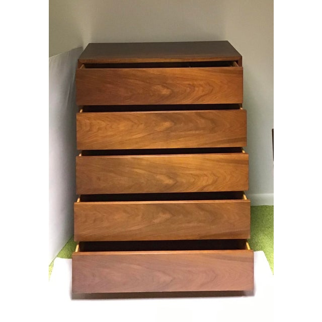 Vintage mid-century tall boy chest 5 drawer equipped with removable insert dividers and sliding tray. This piece is...