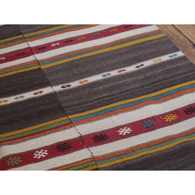 1970s Banded Kilim For Sale - Image 5 of 6