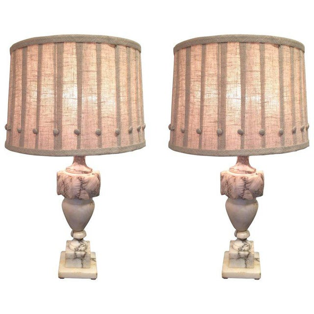 White Marble Table Lamps With Custom Shades - A Pair For Sale - Image 8 of 8