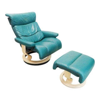 "Modern Ekornes ""Savannah/Memphis"" Teal Leather Lounge Chair and Ottoman For Sale"
