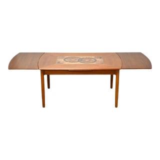 Danish Teak & Tile Draw Leaf Dining Table For Sale