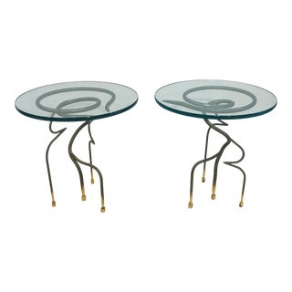 Studio Steel and Gold Leaf Post Modern Sculptural Twist End Tables - a Pair For Sale