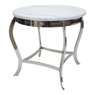 Cabriole Leg Nickel Side Table With Marble Top
