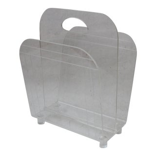Vintage Mid Century Modern Lucite Acrylic W-Shaped Magazine Rack With Built in Handle For Sale