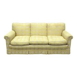 Vintage Yellow Trellis Print Sofa For Sale