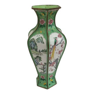 Decorative Chinese Canton Enamel Vase For Sale