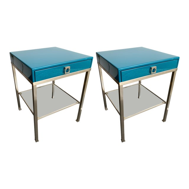 Image of Pair of Lacquered Side Tables by Guy Lefevre for Maison Jansen. France, 1970s