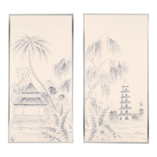"""Blue Pagoda Garden"" Chinoiserie Hand-Painted Panel on Blush Silk Diptych by Simon Paul Scott for Jardins en Fleur - Set of 2 For Sale"