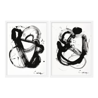 "Medium ""Noir Et Blanc, Pair"" Print by Lesley Grainger, 38""x25"" - A Pair"