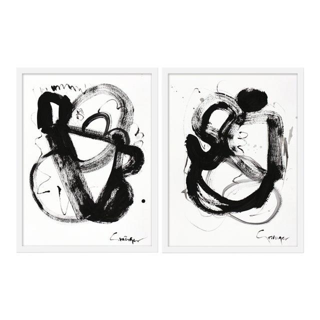 """Medium """"Noir Et Blanc, Pair"""" Print by Lesley Grainger, 38""""x25"""" - A Pair For Sale"""