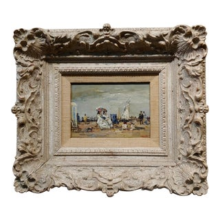 Women Belle époque at the Beach-19th C. French Impressionist Oil Painting For Sale
