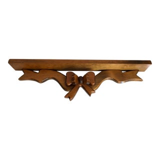 1970's Vintage Handmade Wooden Bow Wall Shelf For Sale