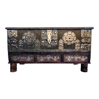 Antique Shiraz Arab Brass Mounted Teak Chest For Sale