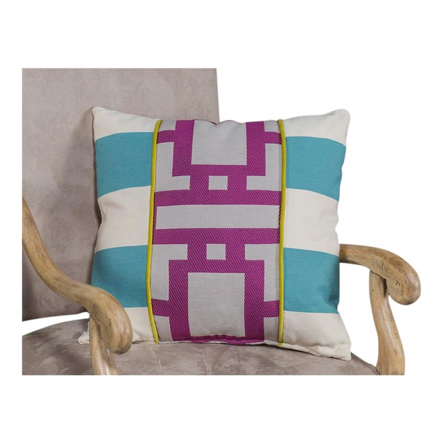 Cotton Blend Pillow with Robin Blue and Orchid Purple Geometric Lines For Sale In Houston - Image 6 of 6