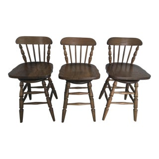 Vintage Boling Furniture Company Oak Bar Stools - Set of 3