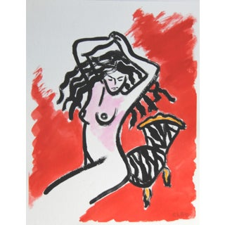 Minimalist Fauvist Nude on Tiger Skin Chair by Cleo Plowden For Sale