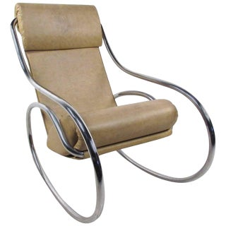 Mid-Century Modern Tubular Chrome Rocking Chair For Sale
