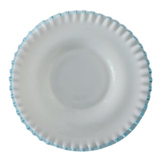 1960s Mid-Century Modern Teal Fluted Milk Glass Platter