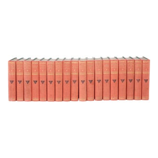 Collection Gilt Leather Bound Library Book Set - 18 Pieces For Sale