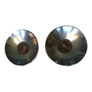 Antique Coin Embedded Italian Stainless Bowls - a Pair
