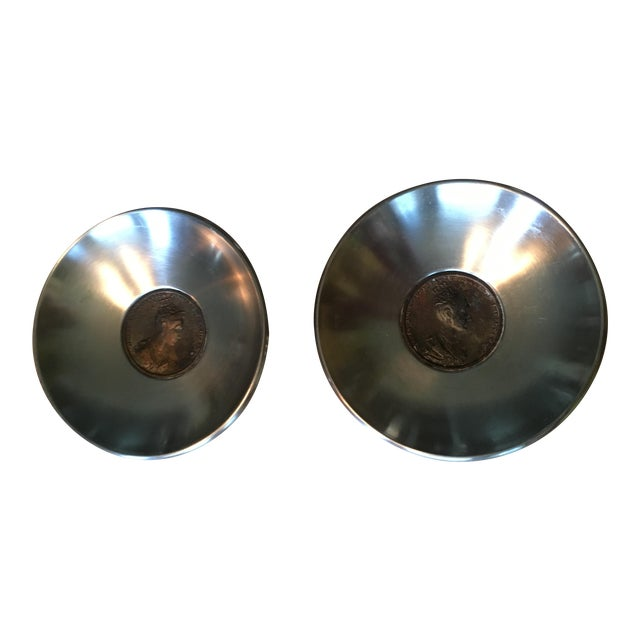 Antique Coin Embedded Italian Stainless Bowls - a Pair - Image 1 of 5