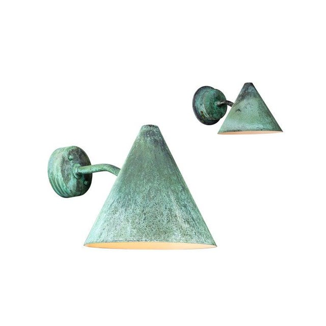 Mid-Century Modern Hans-Agne Jakobsson 'Mini-Tratten' Patinated Copper Outdoor Sconces For Sale - Image 3 of 13
