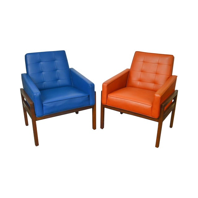 Mid Century Modern Pair of Walnut Frame Orange & Blue Lounge Chairs For Sale