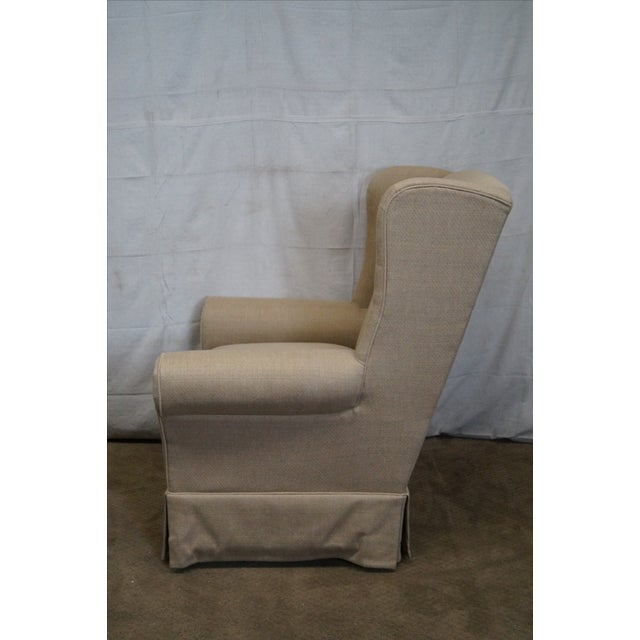 Country Lexington Tan Upholstered Lounge Chair For Sale - Image 3 of 10