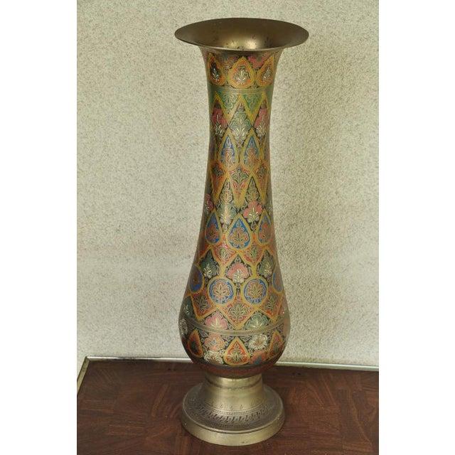Mid 20th Century Indian Brass Enameled Vase 24 Tall Chairish