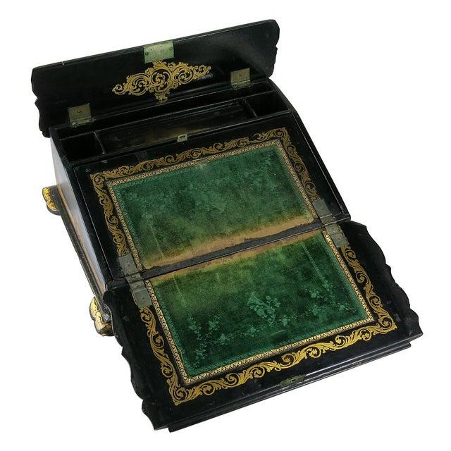 Victorian Mid 19th Century Vintage Victorian Papier Mâché Painted Inlaid Lap Desk For Sale - Image 3 of 6