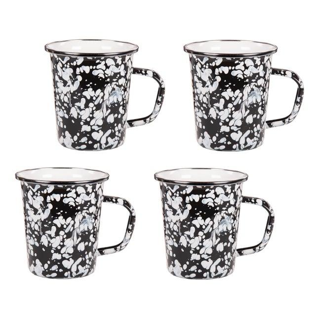 Modern Latte Mugs Black Swirl - Set of 4 For Sale - Image 3 of 3
