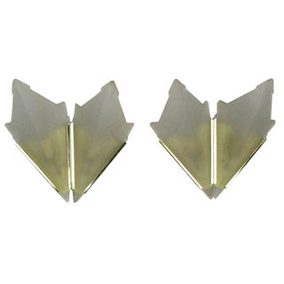 Art Deco Style Brass & Frosted Glass Slip Shade Sconces For Sale