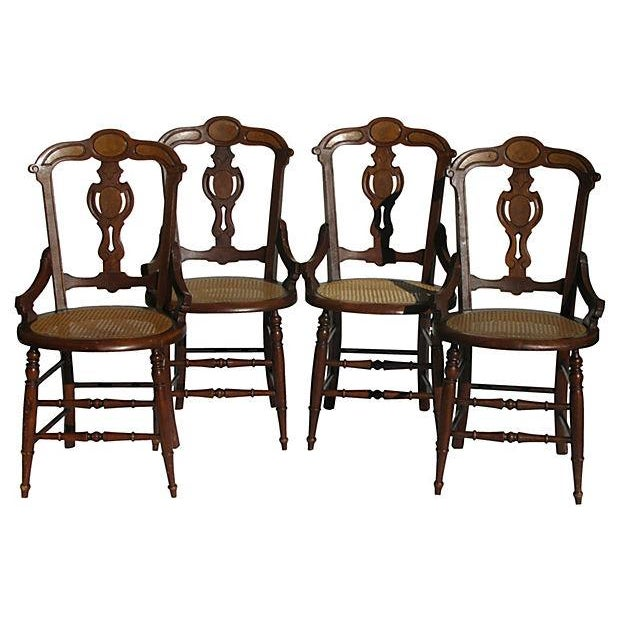 French Art Nouveau Style Chairs W/Cane Seats - S/4 - Image 1 of 7