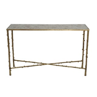 """Glostrup Entryway Iron Console Table With Glass Top, Living Room Furniture, Gold Leafing Finish, 15"""" H For Sale"""